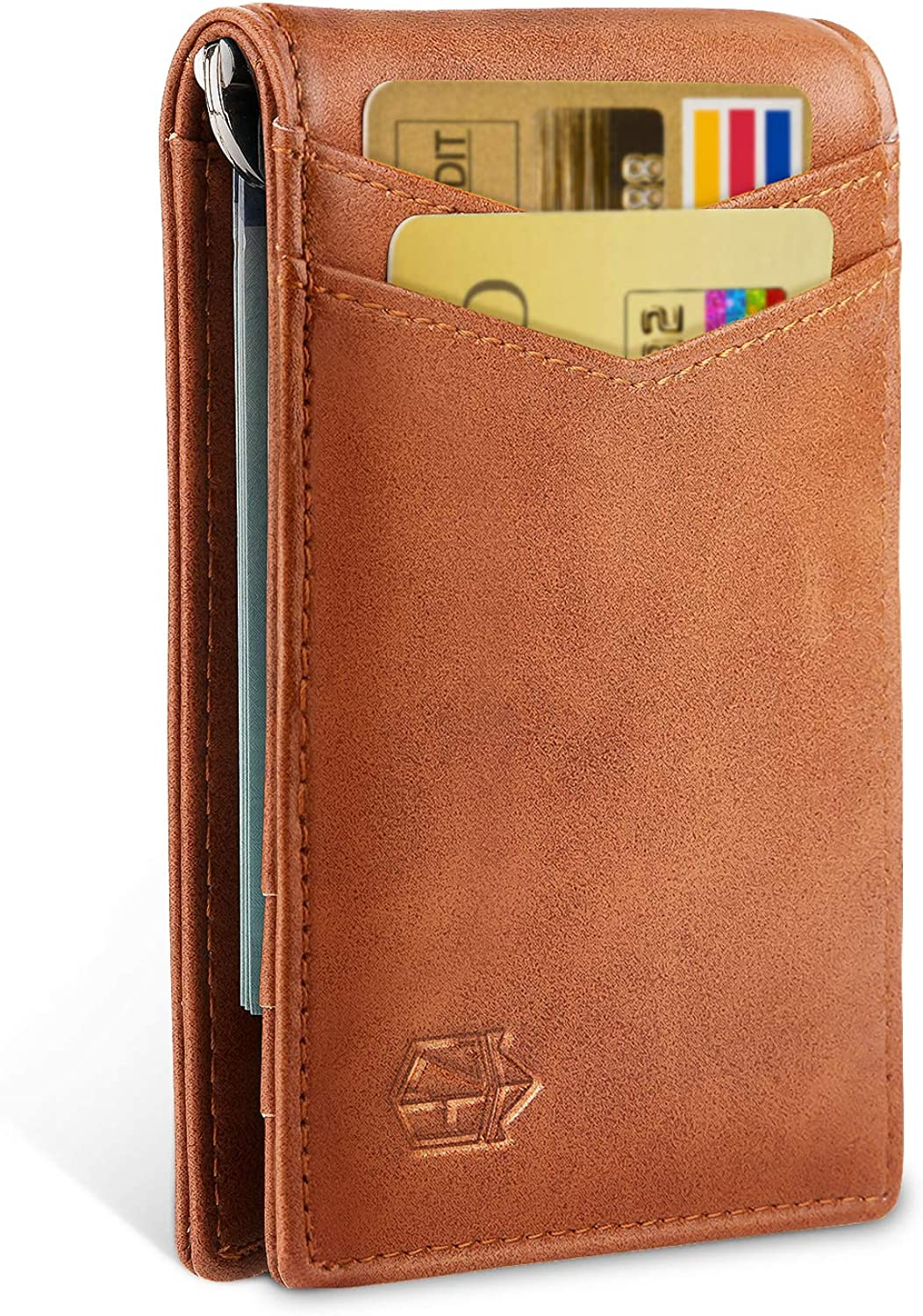 Zitahli Minimalist Slim Bifold Front Pocket Wallet with Upgraded Money Clip for Men, RFID Blocking & Unique Quick-access Pull Tab Design with 1 ID Window