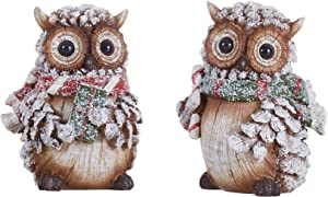 TII Woodland Snowy Owl Decor Figurines - Christmas or Holiday Decoration - Set of 2 - Gift for Owl Lovers