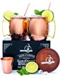 100% Authentic Moscow Mule Copper Mugs Set -- Heavy weight -- No Nickel -- Includes Wooden Coasters, Copper Straws, Shot Glass and Printed Cocktail Manual