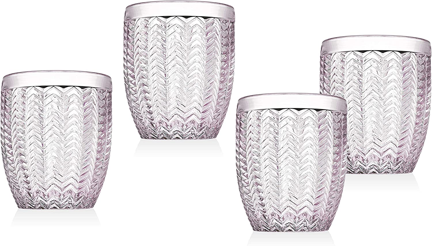 Twill Double Old Fashioned Glasses Beverage Glass Cup by Godinger – Rose Pink – Set of 4