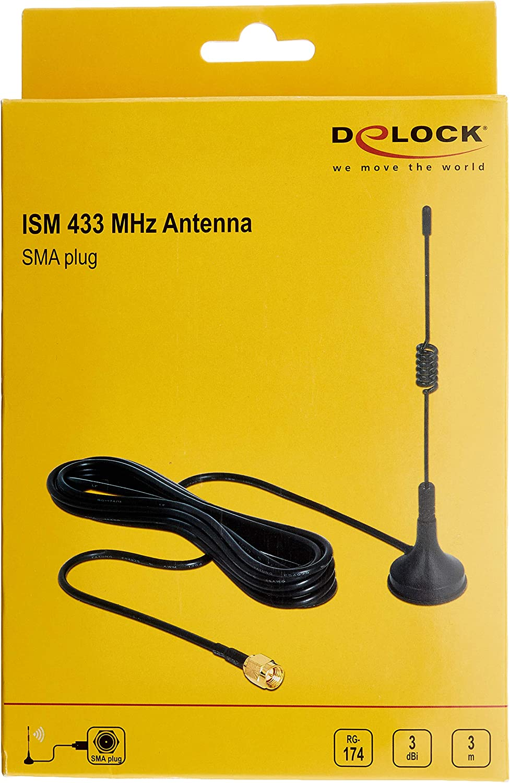 Delock Antenna Ism 433 Mhz Sma 3 Dbi Omni Star Black Elektronik