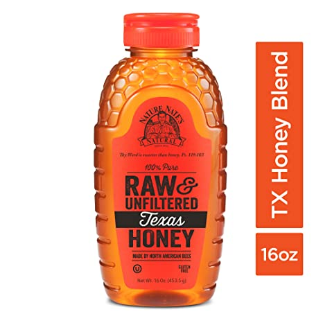Nature Nate's 100% Pure Raw & Unfiltered Texas Honey; 16-oz. Bottle; Sweet Southern Honey Just as Nature Intended; No Additives, Preservatives or Fillers; Made by Texas Bees in the Lone Star State