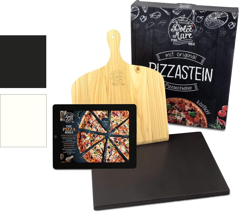 Dolce Mare® Pizza Stone - Piedra para Pizza de Cordierita Horno y la Parrilla - Ladrillo para Pizza crujiente como en el Caso de la Pizza Italiana - Incluye Deslizador para (Black)