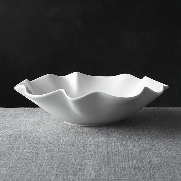 """White Ruffle 15"""" Large Bowl 
