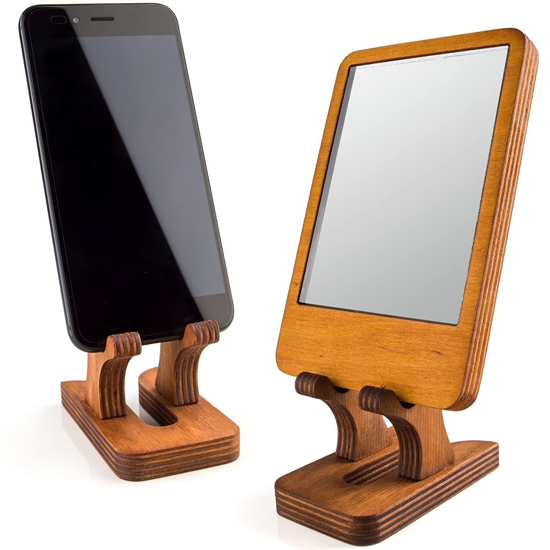 Rostmary Wooden Cell Phone Holder Tablet Stand for Desktop Ideal for iPhone iPad Samsung Tablet PCs Artwork Make-up Mirror Photo Frame Stand Lightweight Docking Station Natural Desktop Desk Phone