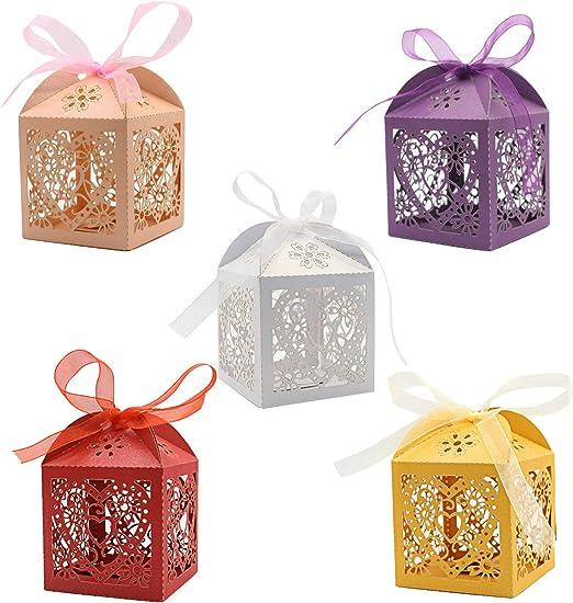 Amazon.com: Cajas de caramelos cortadas con láser, 5 colores ...