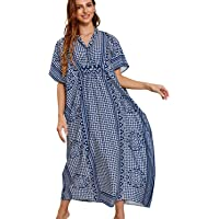 YouKD Women's Summer Long Kaftan Maxi Bohemian Dress Beach Coverups Bikini Robe Loungewear One Size