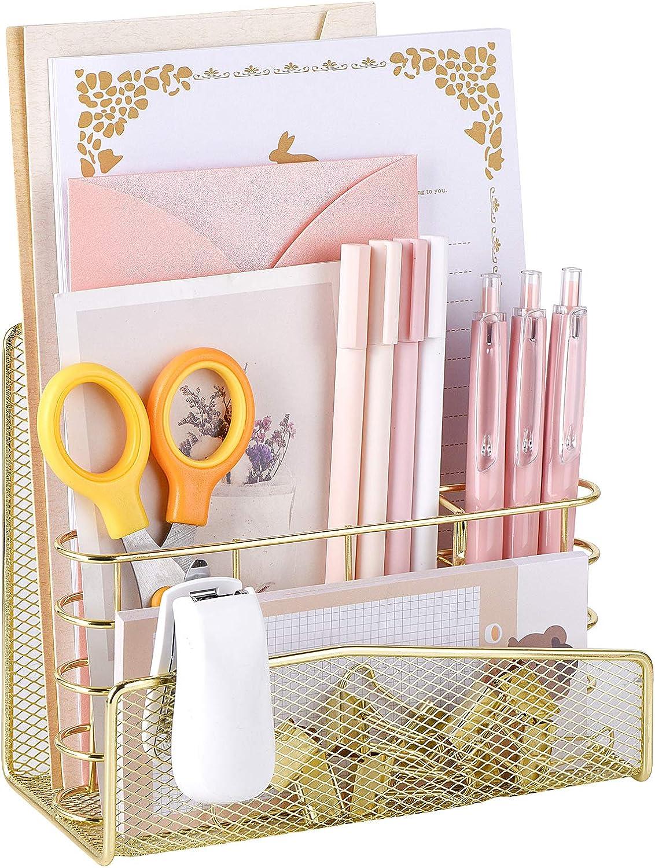 Gold Desktop Mail Organizer - Mail Sorter & Pen Holder for Desk,Trendy Mesh Office Supplies Accessories Essentials Caddy for Home & Office Desktop Organization & Decor