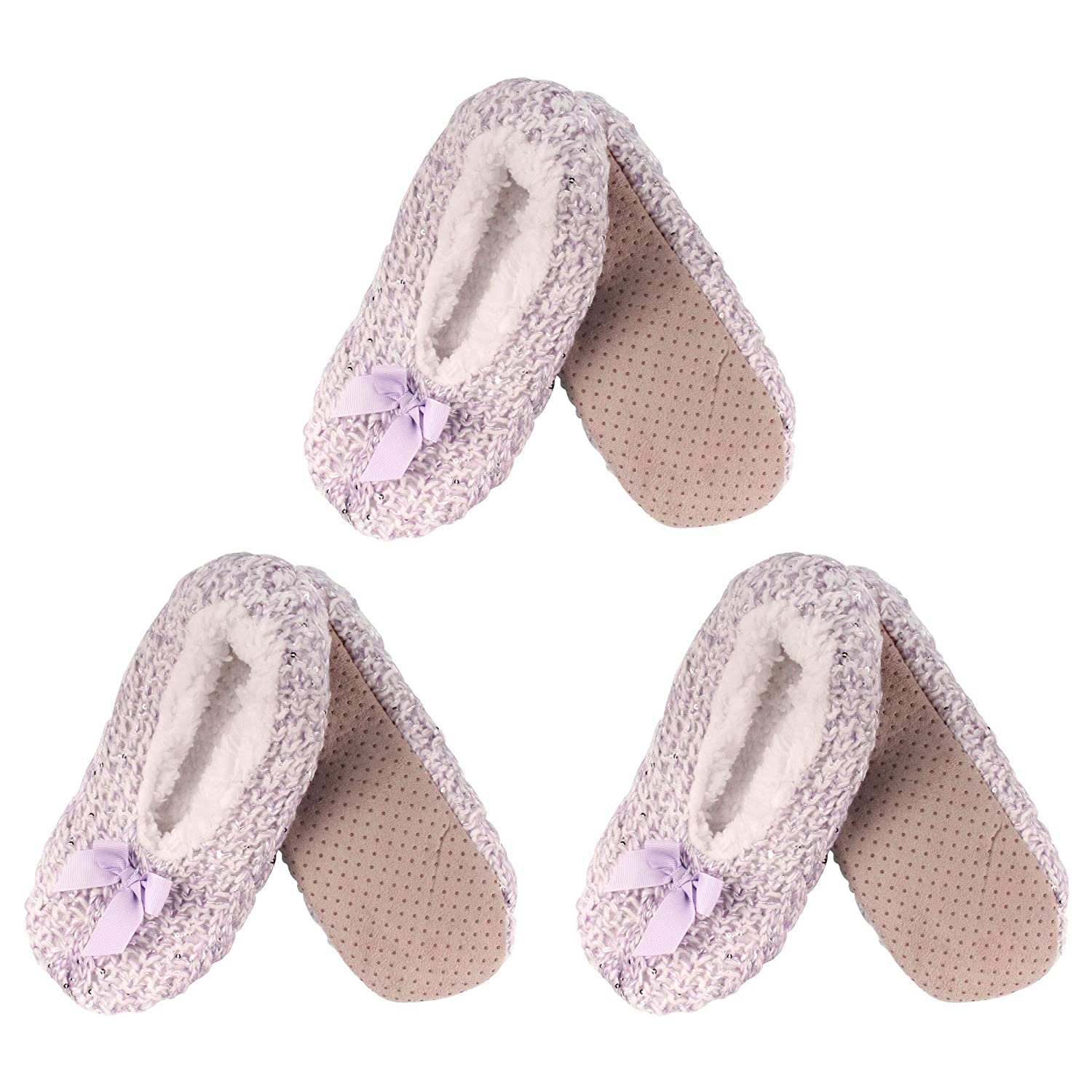Purple Adult Women's Super Soft Warm Cozy Fuzzy Furry Slippers NonSlip Lined Socks