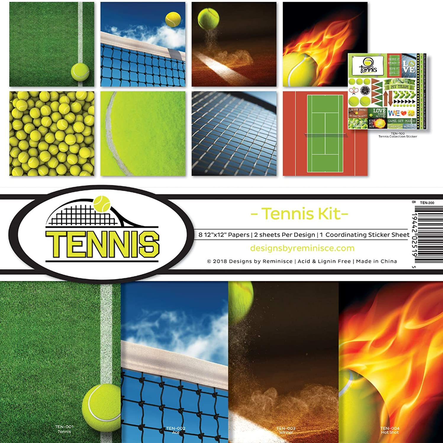 TEN-200 Tennis Scrapbook Collection Kit Reminisce Multicolor REMBC