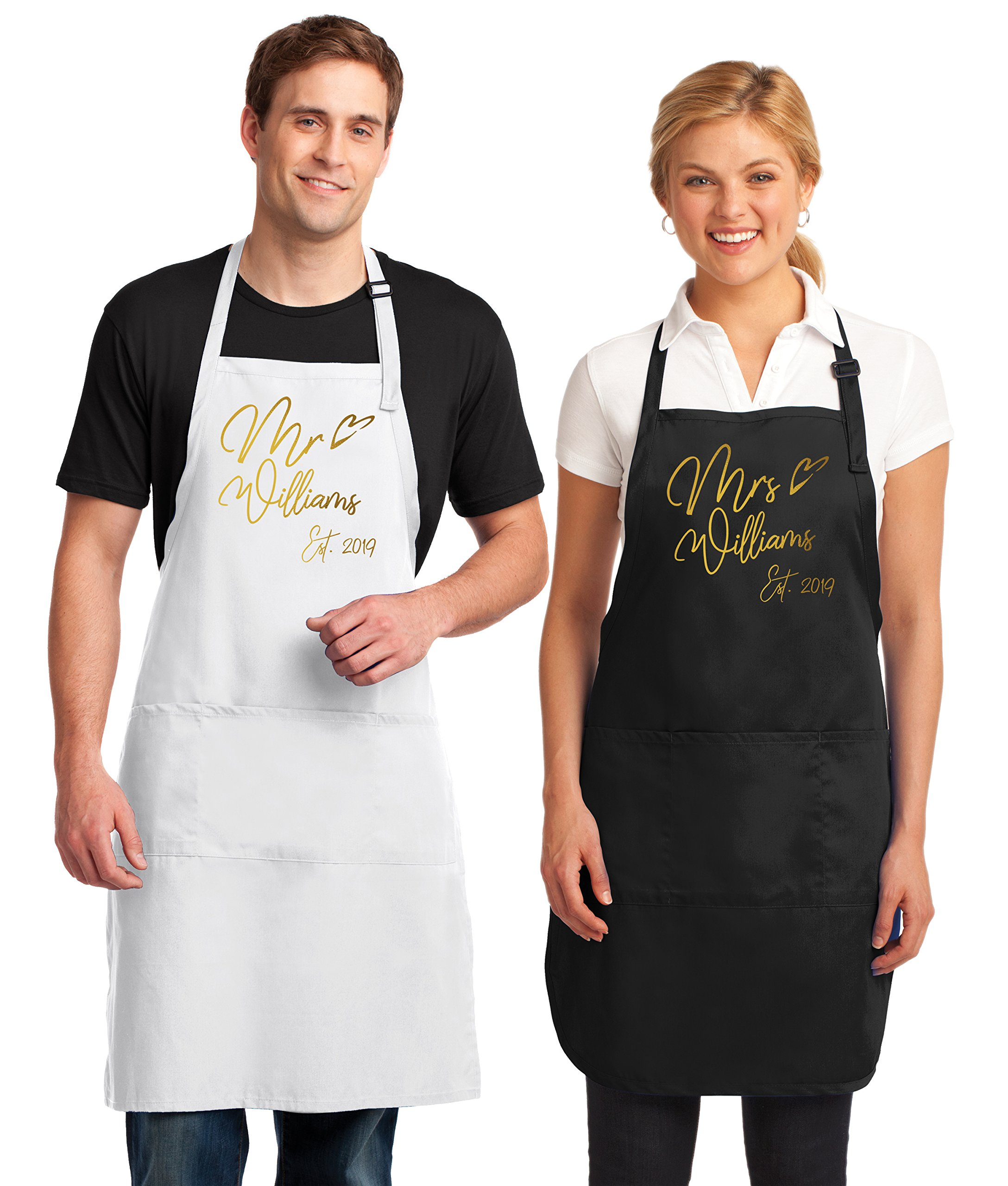 Kamal Ohava Custom Mr and Mrs Couples Kitchen Aprons (2-Piece Set), Gold Foil