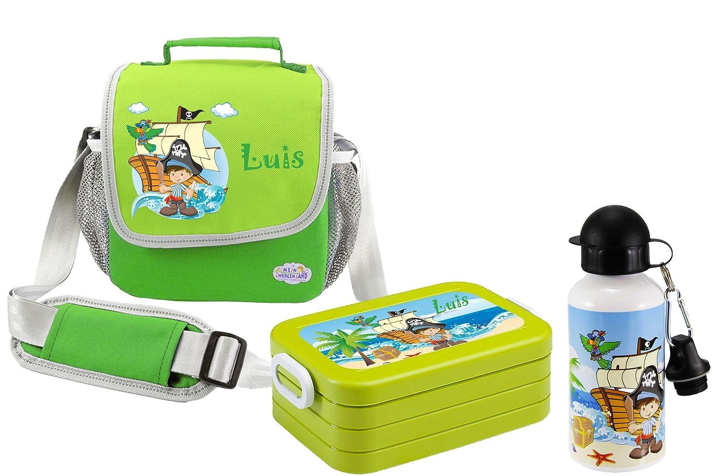 Mein Zwergenland Set 3 Kindergartentasche, Brotdose und Trinkflasche Happy Namen, Knirps mit Namen, Happy 3-teilig, rosa b2411e