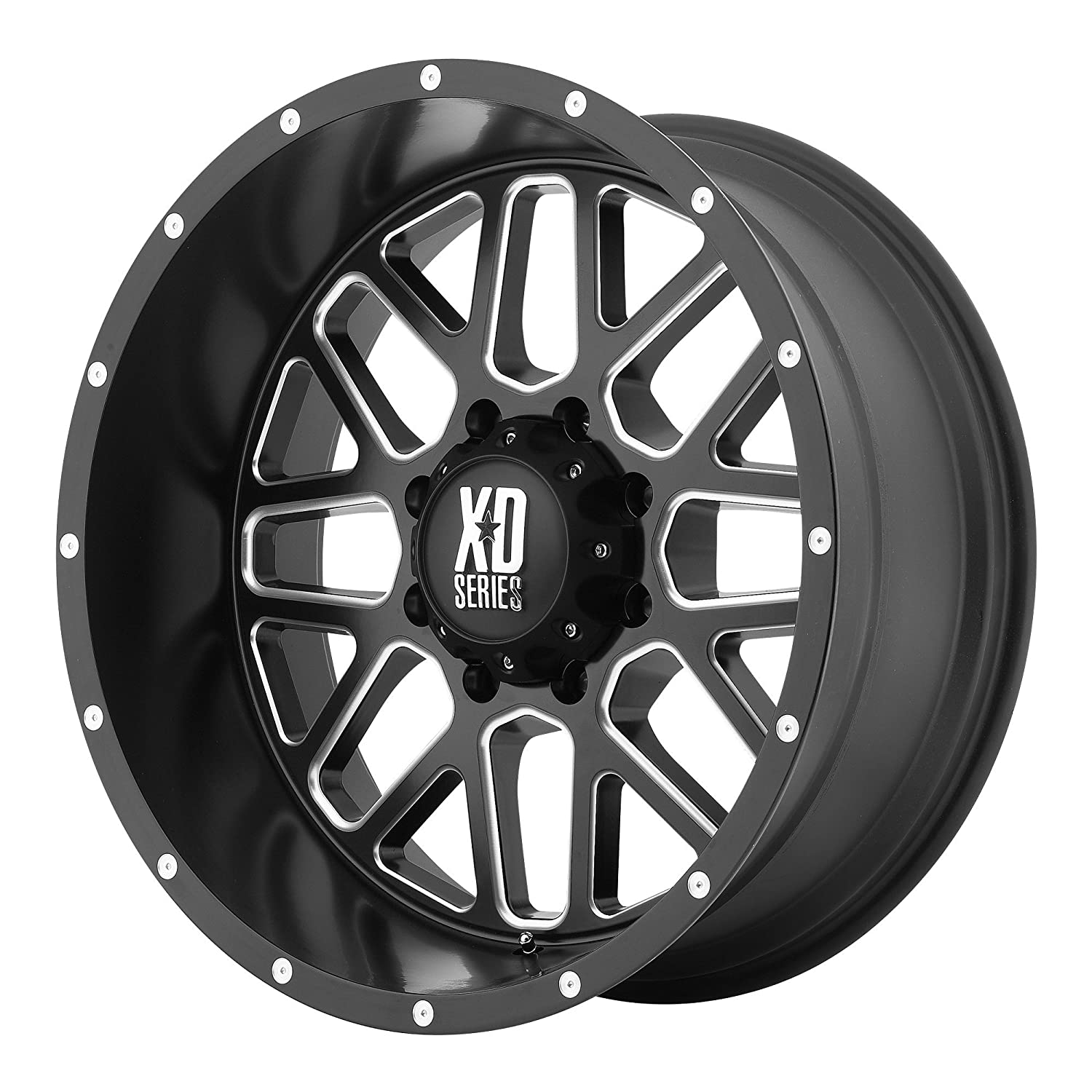 XD Series by KMC Wheels XD820 Grenade Satin Black Wheel with Milled Spokes 20x10//6x139.7mm, -24mm offset