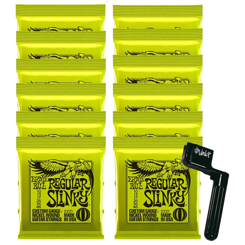 12 Sets of Ernie Ball 2221 Nickel Regular Slinky Electric Strings (10-46) w/ Free String Winder