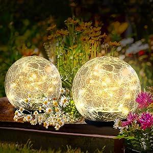 Kooboe Garden Solar Lights Outdoor, 2 Packs Crack Glass Ball Solar Ground Lights, Waterproof 40 LED Solar Patio Lights for Walkway Garden, Yard, Lawm, Outdoor Decoration(Warm White, 4.7 Inch)