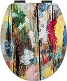 WC-Sitz High Gloss Dekor Farbkunst | Toilettensitz | WC-Brille aus Holz | Soft-Close-Absenkautomatik | Metall-Scharnier   Fast-Fix-Schnellbefestigung