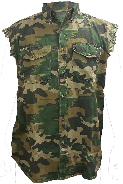 Mens Camo Sleeveless Denim Shirt Ball Breaker Custom Garage Denim Vest