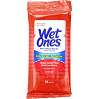 Wet Ones Antibacterial Hand Wipes Travel Pack, Fresh Scent, 15-Count (Pack of 12)