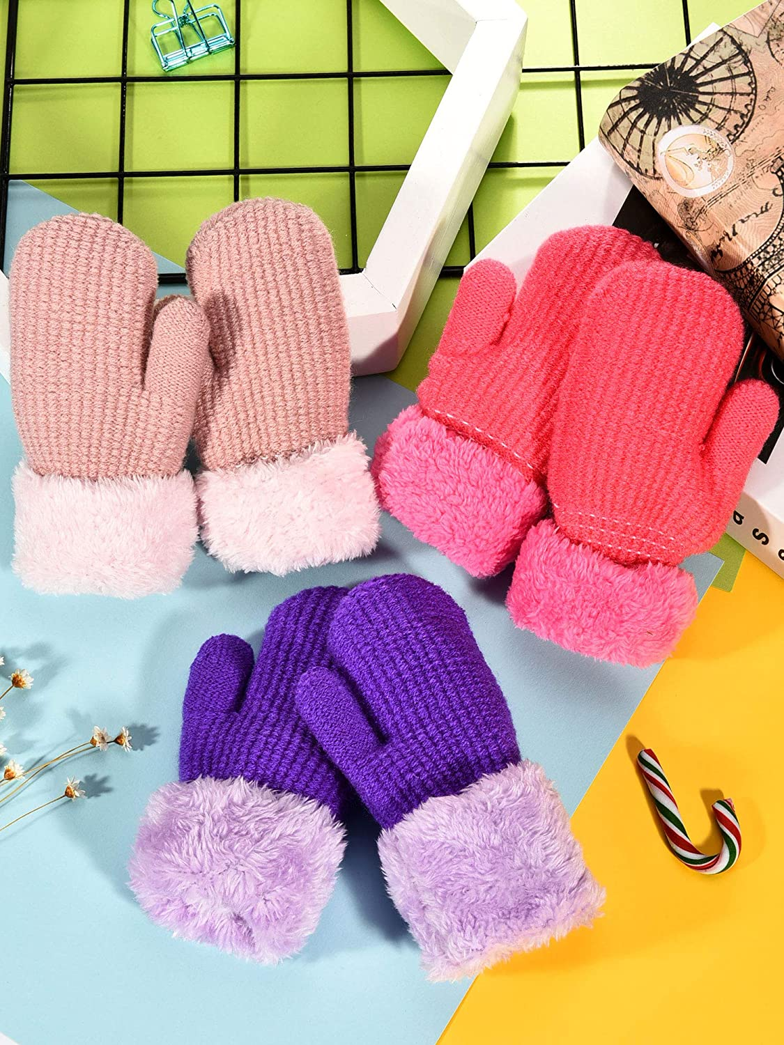 Sumind 3 Pairs Winter Toddler Gloves Mittens Warm Plush Lined Knit Gloves Full Fingers Chunky Mittens for Girls