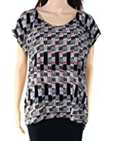 Ella Moss Womens Medium Cap Sleeve Printed Blouse Black M