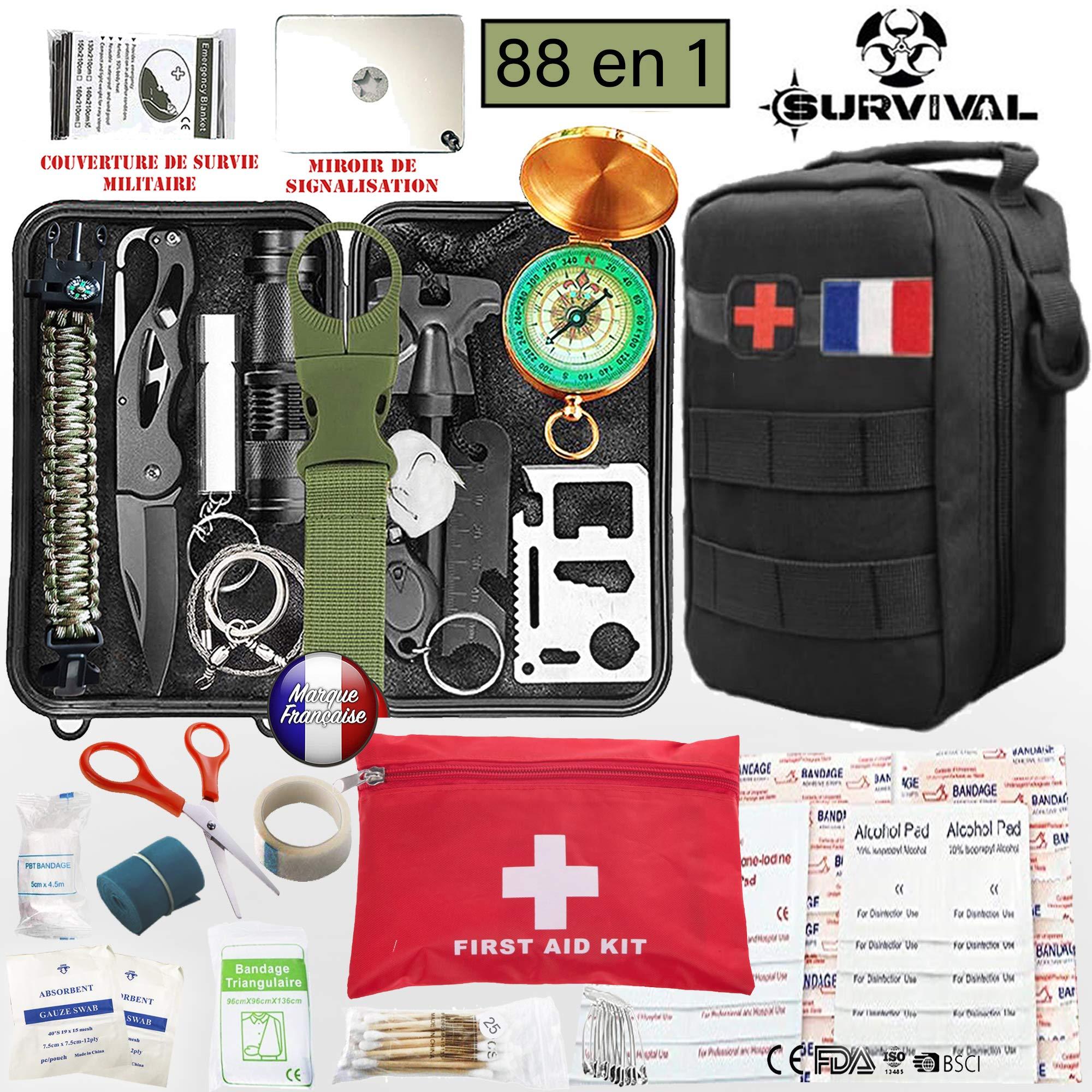 Kit de survie d urgence 88 en 1   Nouveau Model 2019   Avec Trousse de  Premiers Secours,Couteau de Survie,Lampe de Poche,Allume  Feu,Boussole,camping ... cd098e05f39