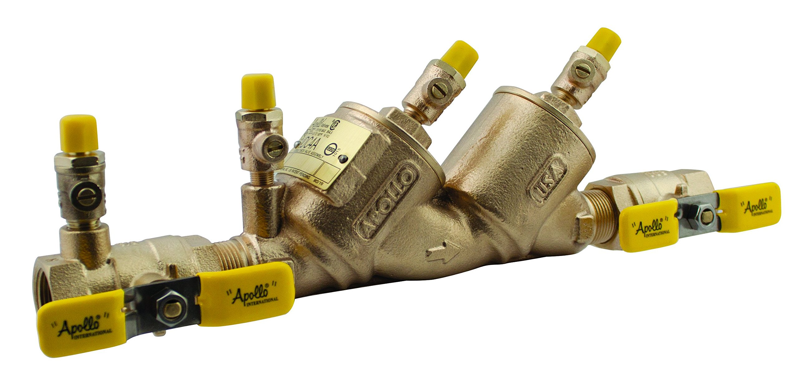 Apollo 4ALF105T2F Bronze Lead Free Double Check Valve Assembly with Ball Valve and SAE Threaded Test Cocks, 1'' Size by Apollo Valve