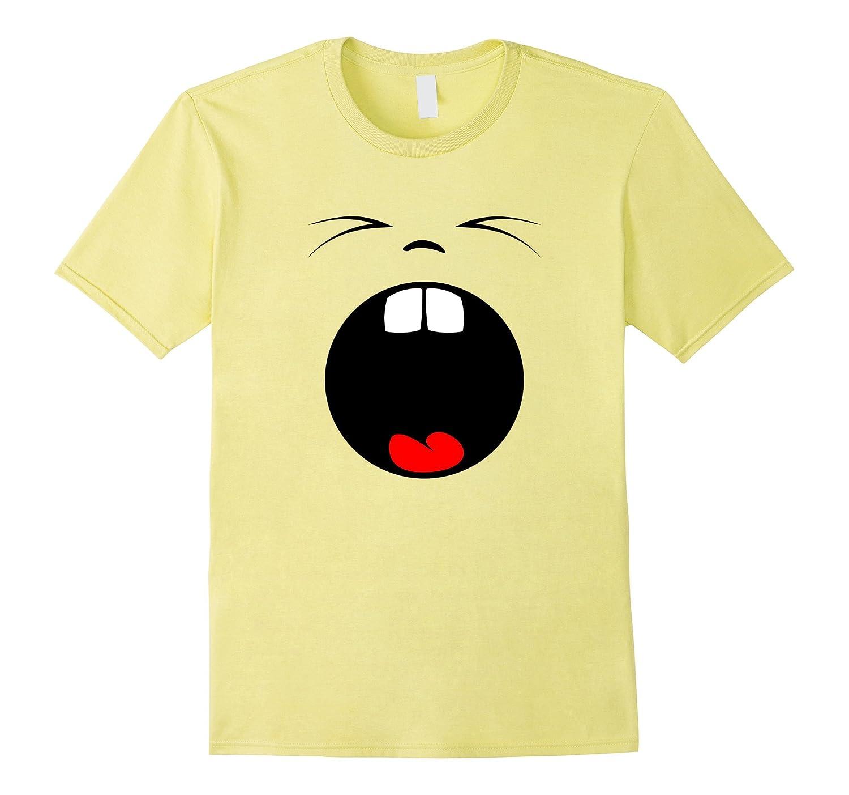 Yawning Emoji T-shirt Tired Emoticon Buck Teeth Mouth Open-Art