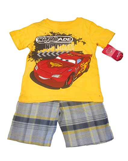 Amazon.com  Cars Disney Lightning McQueen Toddler Boys 2-Piece Graphic Tee    Short Set (2T 1fd208e96