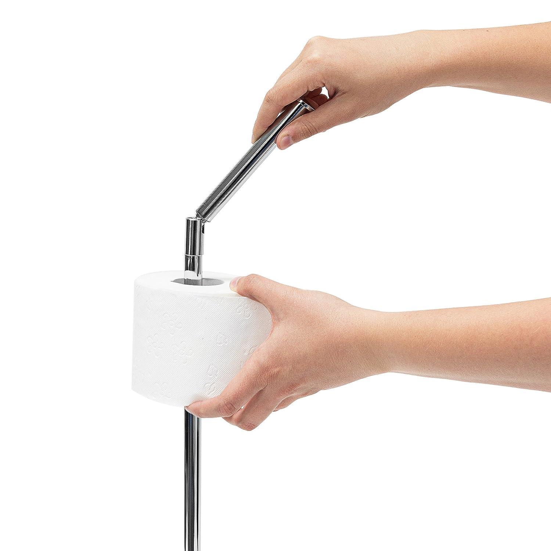 relaxdays toilettenpapierhalter stehend h x b x t ca 75 x 22 x 165 cm freistehender papierrollenhalter in edelstahl optik edler rollenhalter fr - Freistehender Toilettenpapierhalter Mit Lagerung