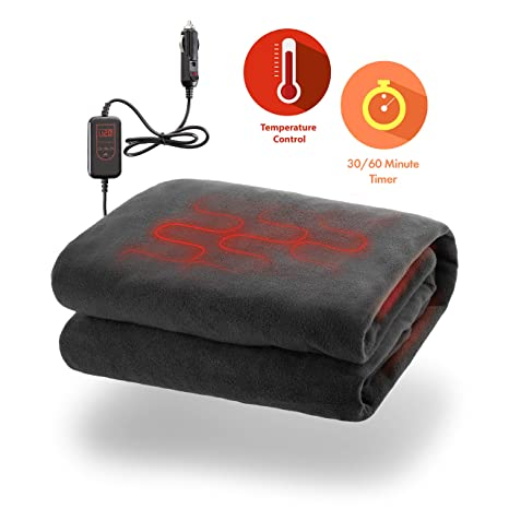 269be955ad Zone Tech Car Heated Travel Blanket - Fireproof New and Improved 2019  Version Classic Black Premium