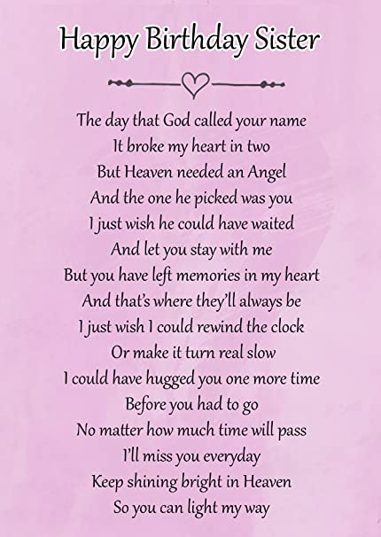 Happy Birthday Sister Memorial Graveside Poem Keepsake Card Includes Free Ground Stake F118 Amazoncouk Kitchen Home