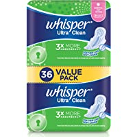 Whisper Ultra Clean Regular Flow Normal Day Wings Sanitary Pads, 36ct