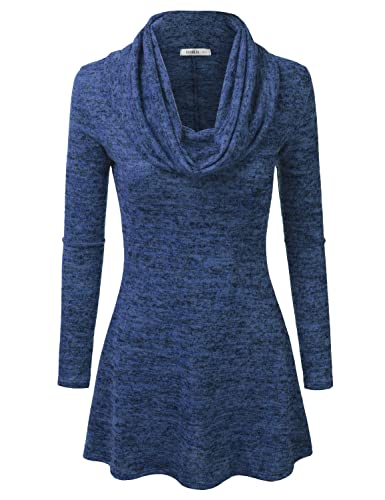 Doublju Marled Cowl Neck A-Line Tunic Sweater Dress Top (Made In USA / Plus size available)