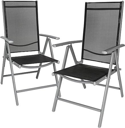 TecTake Lot de aluminium chaises de jardin pliante avec accoudoir diverses couleurs et quantités au choix (Gris | 2 chaises | no. 401631)