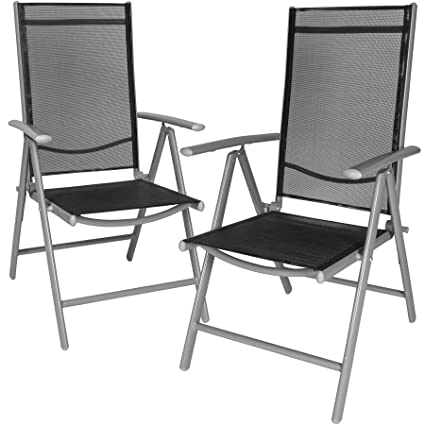 Astonishing Tectake Aluminium Folding Garden Chairs Set Adjustable With Armrests Different Colours And Quantities Silver 2 Chairs No 401631 Ncnpc Chair Design For Home Ncnpcorg