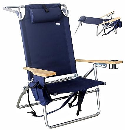 Attrayant Vallf Deluxe Premium U0026 High End Beach Chair Lightweight Aluminum Lay Flat  Pillow Backpack
