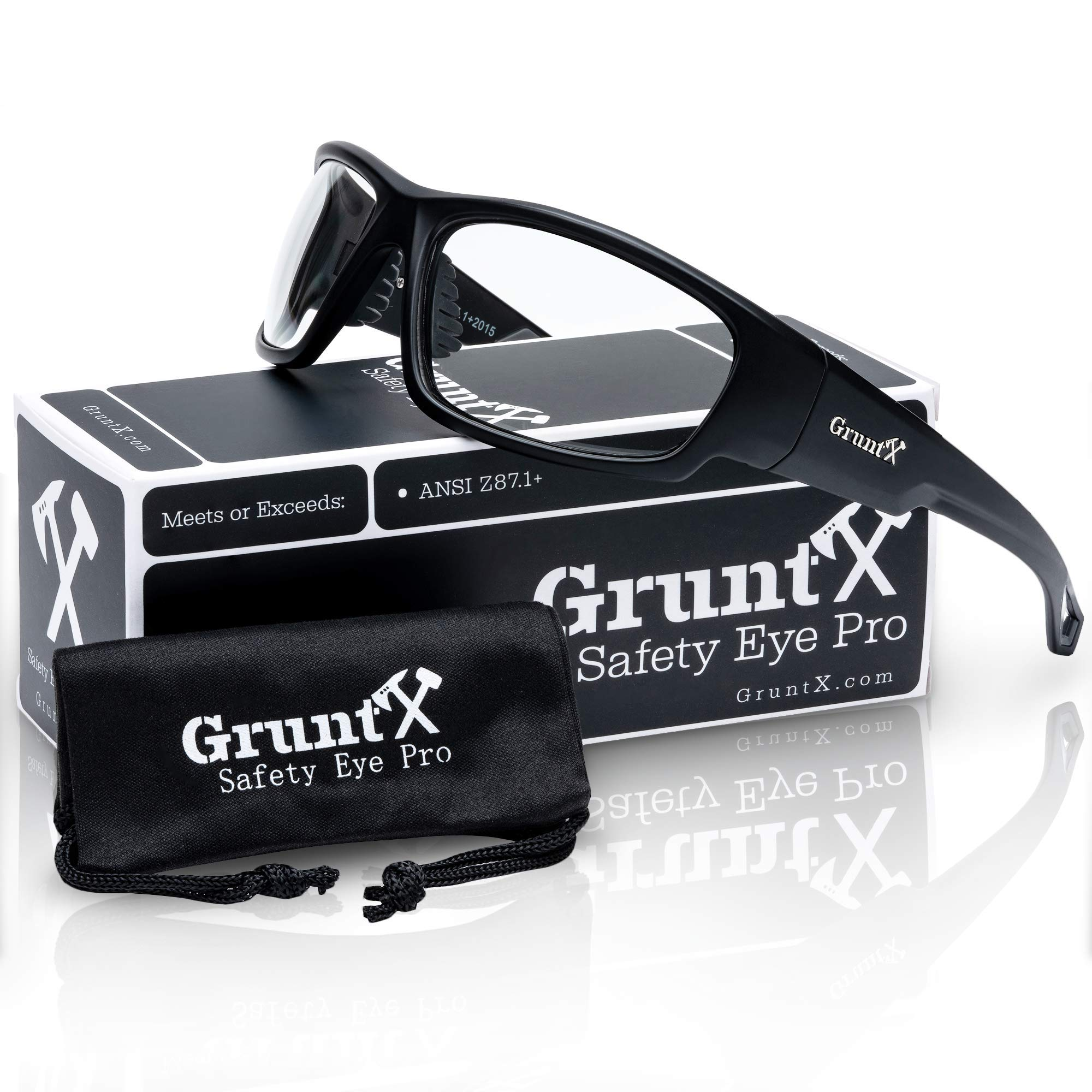 GruntX Ballistic Safety Glasses for Men - Clear - Meets ANSI z87.1+ - Anti Scratch and UV Protection - Perfect for: Shooting, Construction, and Outdoor Sports by GruntX