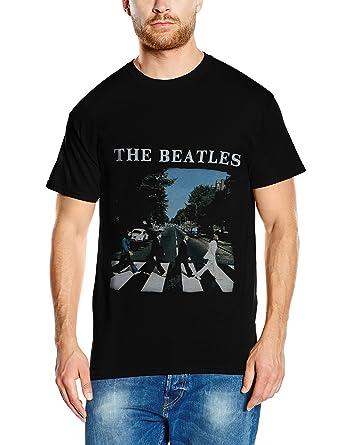 The Beatles Mens Abbey Road And Logo Short Sleeve T Shirt Black Small