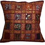 16 Recycled Sari Cushion Cover 40cm Indian Moroccan Maroon by Designs Emporium