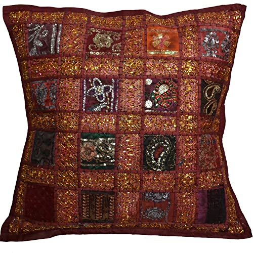 Ethnic Rug Red Printed Cushion Cover Decorative Pillow