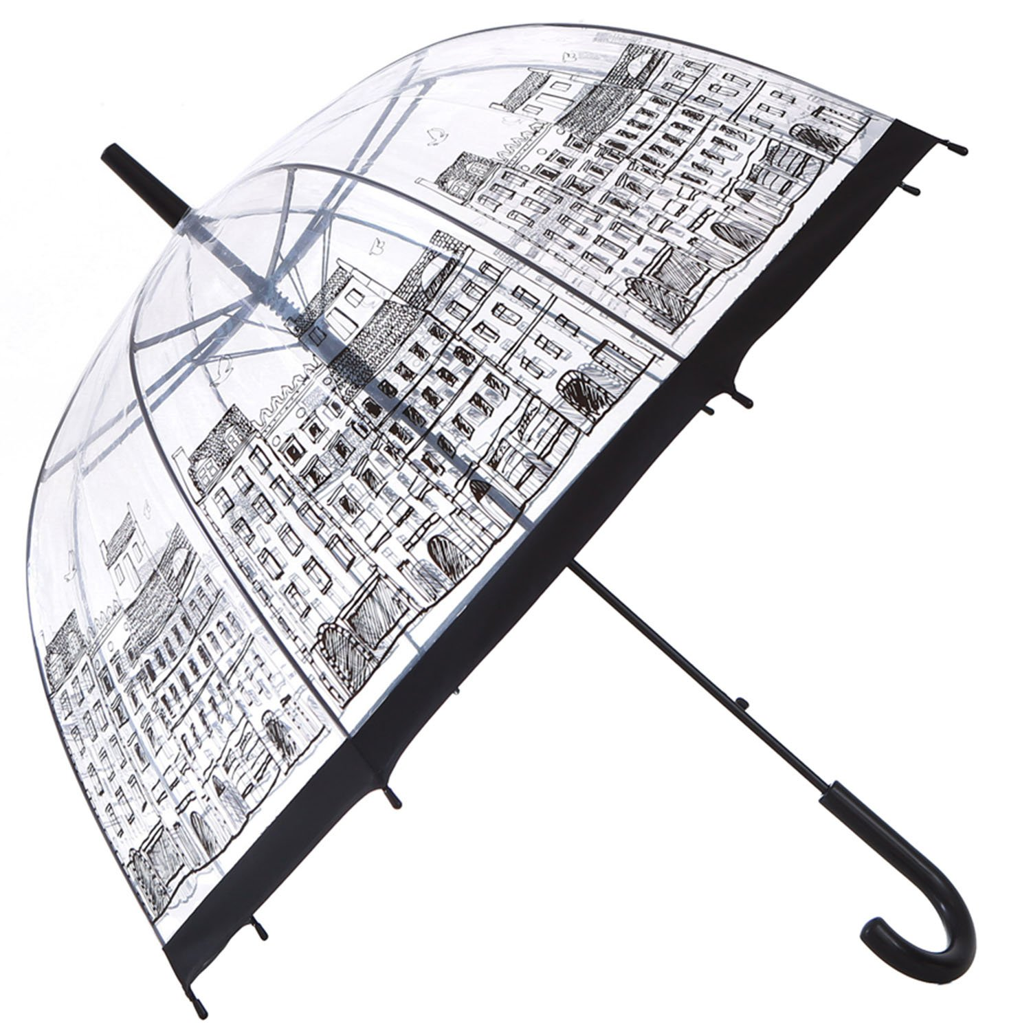 HAOCOO Street Clear Umbrella,Bubble Transparent Fashion Dome Auto Open Umbrella Windproof for Outdoor Weddings or Events