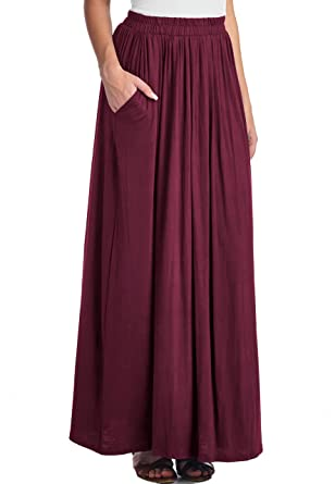 LeggingsQueen Women's Rayon Spandex Layered Maxi Skirt with ...
