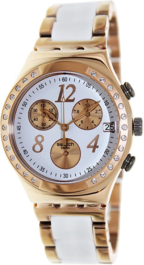 Amazon.com: Swatch Irony Dreamwhite Rose Chronograph Rose Gold-Tone Steel Ladies Watch YCG406G: Swatch: Watches