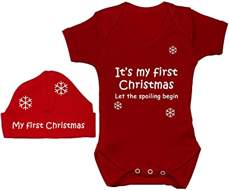 a9dbe32f7 It's My First Christmas Let The Spoiling Begin Baby Bodysuit/Romper/T-Shirt