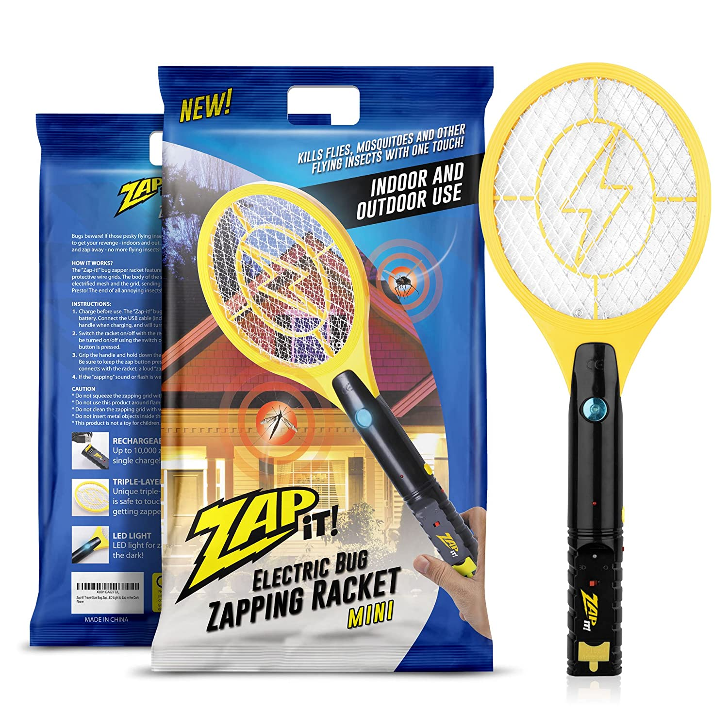 Amazon.com : Zap It! Mini Bug Zapper   Rechargeable Mosquito, Fly Killer  And Bug Zapper Racket   3000 Volt   USB Charging, Super Bright LED Light To  Zap In ...