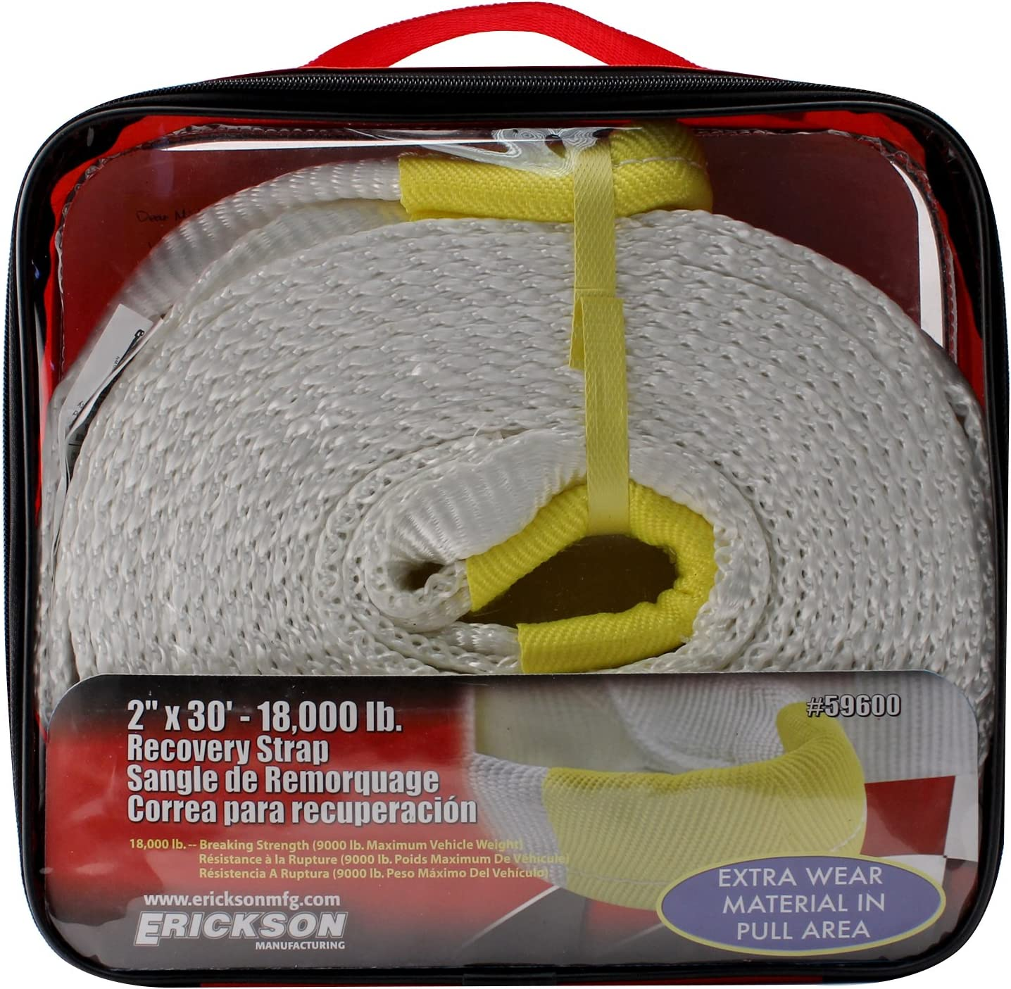 Erickson 59500 White 2 x 20 Recovery Strap 18,000 lbs Breaking Strength 9000 lbs Maximum Vehicle Weight Capacity