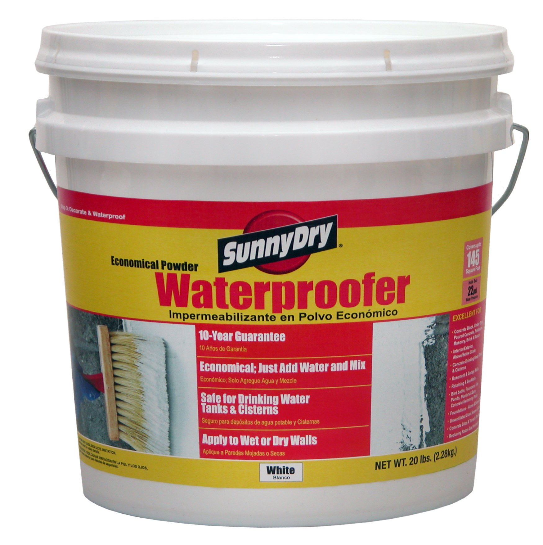 SunnyDry M120 White Powder Waterproofer, 20 lb. Pail