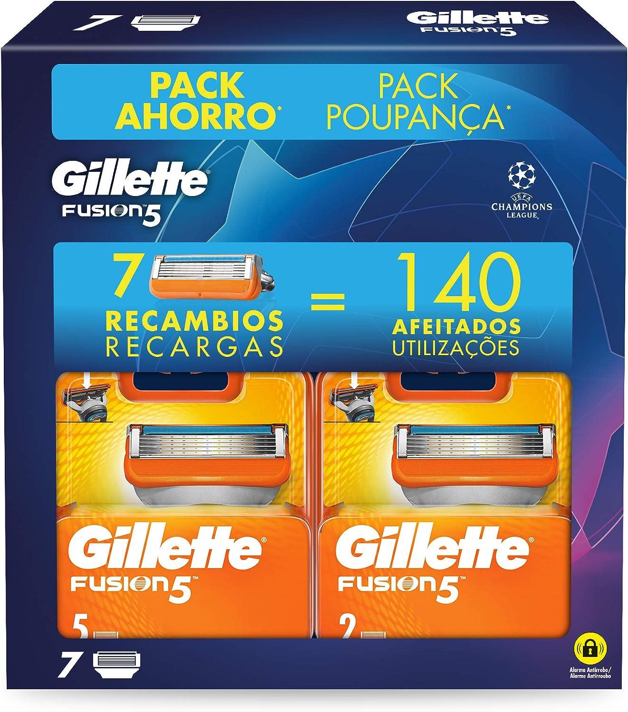 Gillette Fusion5 - Cuchillas de Afeitar, Pack Ahorro Champions League con 7 Recambios: Amazon.es: Salud y cuidado personal
