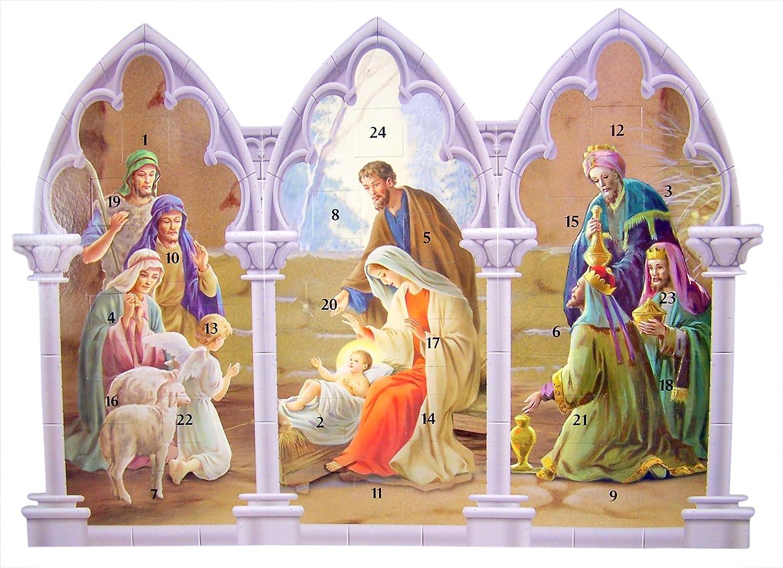 Amazon Com Triptych Standing Nativity Advent Calendar With Die Cut