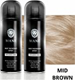 Mane Coloured Hair Thickening Spray MID BROWN 200ml x 2 aerosols